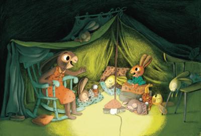 Hasenfamilie im Zelt