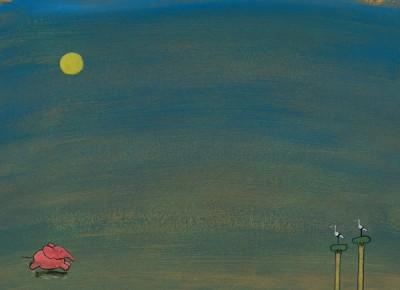 Rosa Elefant rennt bei Nacht (Vollmond), daneben zwei Storche hoch oben auf ihren Nestern