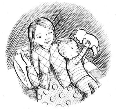 Zeichnung von Frau mit Baby, Baby hält einen Teddybären hoch in die Luft