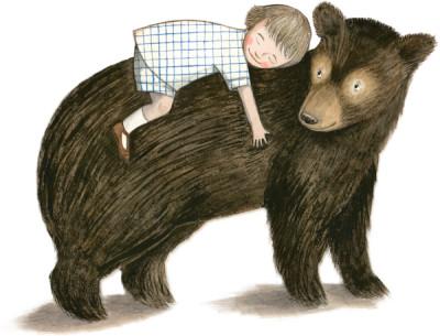 Mädchen liegt auf Bärenrücken